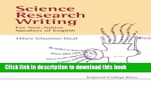 Read Book Science Research Writing for Non-Native Speakers of English E-Book Free