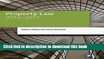 Read Property Law 2016-2017 (Blackstone Legal Practice Course Guide) PDF Online