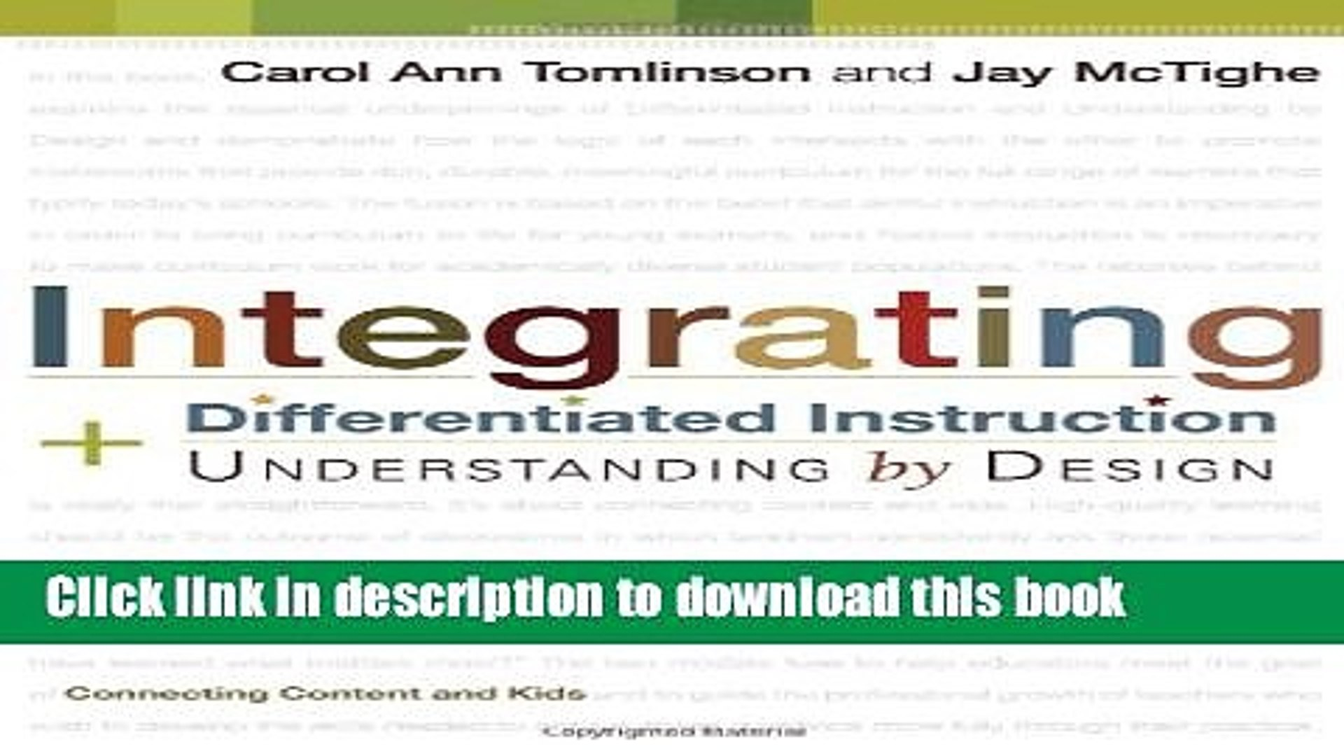 Read Integrating Differentiated Instruction Understanding By Design Connecting Content And Kids Video Dailymotion