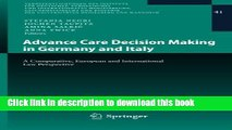 Read Advance Care Decision Making in Germany and Italy: A Comparative, European and International