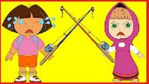 #Masha And Dora Compete Fishing #Angry #Mean #Funny Story #Rainbow Rhymes