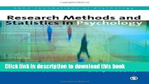 Read Research Methods and Statistics in Psychology (SAGE Foundations of Psychology series) Ebook