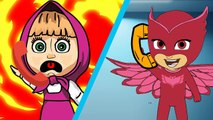 Masha And The Bear with PJ Masks Catboy Gekko Owlette Crying when saw the Wolf