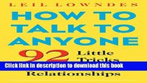 Read How to Talk to Anyone: 92 Little Tricks for Big Success in Relationships  Ebook Free