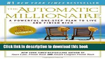 [PDF] The Automatic Millionaire: A Powerful One-Step Plan to Live and Finish Rich Download Online