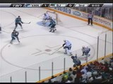 Luongo Great Save on Boyle - Canucks at Sharks - Jan 20 2009