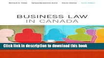 Read Business Law in Canada, Tenth Canadian Edition Plus MyBusLawLab with Pearson eText -- Access
