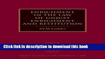 Read Enrichment in the Law of Unjust Enrichment and Restitution (Hart Studies in Private Law) PDF