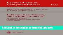 Read Information Theory and Applications II: 4th Canadian Workshop, Lac Delage, Quebec, Canada,
