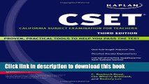 Read Books Kaplan CSET: California Subject Examination for Teachers (Kaplan Cset: The California