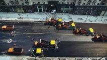 Une armée de véhicules pour refaire une rue de Moscou en seulement une journée !