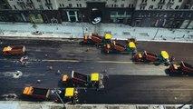 Une rue de Moscou refaite en une journée grâce à 300 véhicules