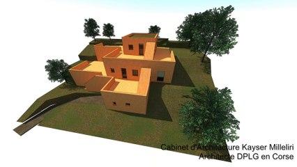 maison d'architecture contemporaine en béton de terre ( pisé ) en Balagne ( Corse )