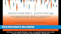 Ebook Semantic Priming: Perspectives from Memory and Word Recognition (Essays in Cognitive