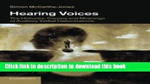 Ebook Hearing Voices: The Histories, Causes and Meanings of Auditory Verbal Hallucinations Free
