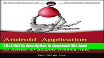 PDF  Android Application Development Cookbook: 93 Recipes for Building Winning Apps  Online