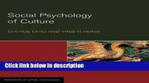 Ebook Social Psychology of Culture (Principles of Social Psychology) Free Online