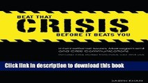 Books Beat That Crisis,  Before It Beats You! International Issues Management and Crisis
