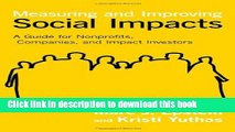 Ebook Measuring and Improving Social Impacts: A Guide for Nonprofits, Companies, and Impact