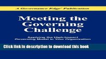 Books Meeting the Governing Challenge: Applying the High-Impact Governing Model in Your