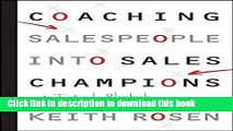 Books Coaching Salespeople into Sales Champions: A Tactical Playbook for Managers and Executives