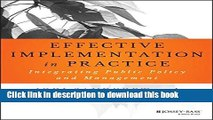 PDF  Effective Implementation In Practice: Integrating Public Policy and Management (Bryson Series