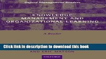 Books Knowledge Management and Organizational Learning: A Reader (Oxford Management Readers) Full
