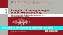 Books Logic, Language and Meaning: 18th Amsterdam Colloquium, Amsterdam, The Netherlands, December