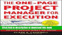 Books The One-Page Project Manager for Execution: Drive Strategy and Solve Problems with a Single