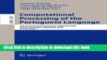 Ebook Computational Processing of the Portuguese Language: 8th International Conference, PROPOR