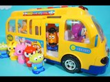 Pororo friends and Disney friends ride Pororo bus toy❤TOYFAMILY PLAY TOYS