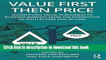 [PDF] Value First then Price: Quantifying value in Business to Business markets from the