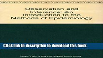 Ebook Observation and Inference: An Introduction to the Methods of Epidemiology Free Online
