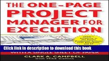 [Read PDF] The One-Page Project Manager for Execution: Drive Strategy and Solve Problems with a