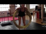 Hula Hooper Spins Around Multiple Hoops