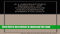 [PDF] A laboratory manual of comparative vertebrate embryology Book Online