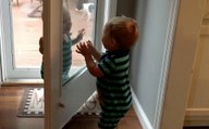 Toddlers Having Fun With Glass Door & Pediatrician's Exam Table