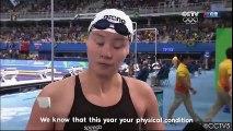 La réaction surprenante d'une nageuse Chinoise qui apprend en direct son chrono