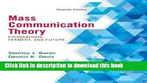[Popular] Books Mass Communication Theory: Foundations, Ferment, and Future, 7th Edition Free