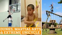 TOP FIVE: Basketball Dunks, Martial Arts & Extreme Unicycle | PEOPLE ARE AWESOME 2016