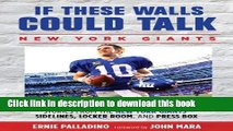 [Popular] If These Walls Could Talk: Stories From the New York Giants  Sidelines, Locker Room, and
