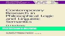 Books Contemporary Research in Philosophical Logic and Linguistic Semantics (The Western Ontario