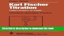 Download Karl Fischer Titration: Determination of Water (Chemical Laboratory Practice) E-Book Online