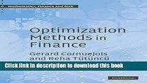 [Popular] Optimization Methods in Finance Kindle Free