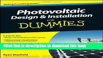 [Popular] Books Photovoltaic Design and Installation For Dummies Free Online
