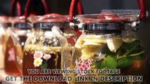 Fruit and herbal tea in cafe, variety of warm drinks served to festival guests. Stock Footage
