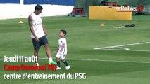 PSG : Thiago Silva s'entraîne avec ses deux enfants