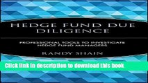 [Popular] Hedge Fund Due Diligence: Professional Tools to Investigate Hedge Fund Managers