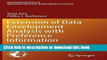 [Download] Extension of Data Envelopment Analysis with Preference Information: Value Efficiency