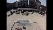 Time laps Montage de scène pour le weekend des tambours du bronx et Massilia sound System à Sauveterre-De-Rouergue